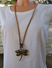Kork Modekette Lang Pullover Kette Libelle Korkschmuck jedes Stück ein Unikat