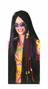 33 Inch Braided Black Hippie Wig Adult Costume Accessory