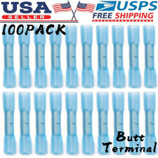 100Pcs Heat Shrink Butt Tubing Splice Connector 16-14GA Blue Wire Crimp Terminal