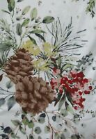 "Ralph Lauren Christmas Napkins+Tablecloths~White~Pine Cones+Berries 70""Rnd~60x84"
