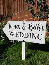 Vintage wedding this way wooden directional sign personalised