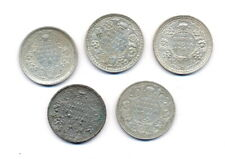 India-British George VI  1/2 Rupee Collection (5 pieces) all Different Silver