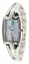 Seiko SUP083 Tressia Silver Tone Steel Crystal Accent Mother of Pearl 19mm Watch