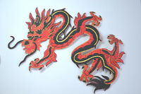CHINESE DRAGON 20cm RED BLACK Embroidered Iron Sew On Cloth Patch Badge APPLIQUE