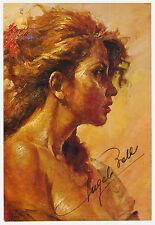 Original Angelo Batti Signed Post Card Painted Portrait of Woman- Italian Artist