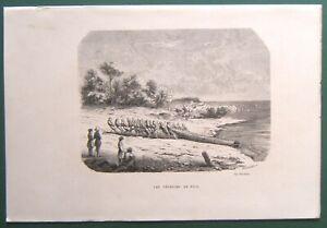 Gravure XIXe (Vers 1860) Les pêcheurs de Nice. PROVENCE