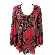 Sweet Pea Mimi Maternity Size Medium Gauzy Floral Blouse Red Stretch Long Sleeve