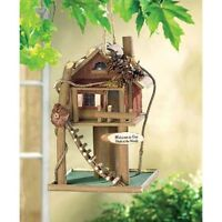 fishing rustic log lake cabin camping Wood fairy Bird FEEDER house birdhouse