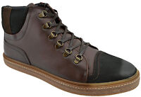 $230 OVATTO Brown Black Leather Ankle Boots Sneakers Men Shoes NEW COLLECTION