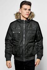 b32d0c2520f51 Boohoo Brave Soul Short Olive Parka With Faux Fur Hood Size L Bnwt
