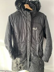JACK WOLFSKIN Quilted Long Storm Lock Black Hooded Jacket Coat UK 10 SMALL