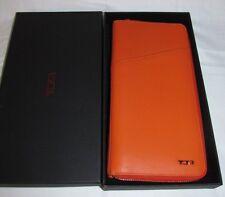 Tumi Orange Leather Zip Around Passport Travel Documents ID Wallet Clutch, Purse