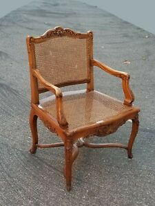 Vintage French Country Ornately Carved Accent Cane Chair w Orange Cushions