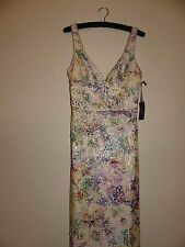Vera Wang long formal gown sz 4 ivory w/ multi-color floral pattern sequins NWT