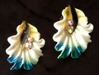 Vintage Signed West Germany celluloid AB rhinestone flower clip earrings