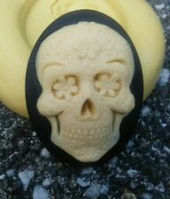 Halloween Skull cameo SILICONE push mold  polymer clay resin Sugar Craft USA