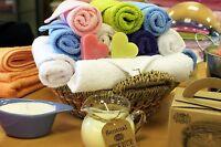 Serviettes de toilette éponge en coton 30x30 invité main spa 500gr 9 couleurs