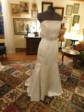 GORGEOUS SILVER JESSICA MCCLINTOCK FIT & FLARE STRAPLESS WEDDING GOWN SIZE 8