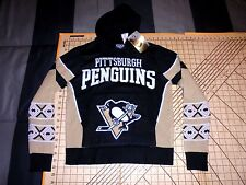 YOUTH MEDIUM NHL PITTSBURGH PENGUINS KNIT HOODED SWEATER - NWT