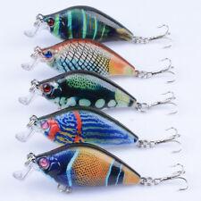 New 5pcs/lot Painted Crank Baits Bass CrankBaits Tackle Fishing Lures 6.5cm/8.6g