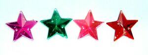 Faceted Acrylic Stars-20mm-144 pcs SEW ON-2 HOLE Flatback (Choose Color) #SOST01