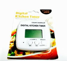 Digital Kitchen Timer With Magnetic Back Count Up/Down White Cooking Baking