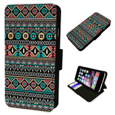 Aztec Pattern Feathers - Flip Phone Case Wallet Cover Fits Iphone 5 6 7 8 X 11