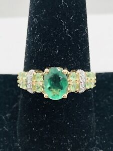 SCBS Solid 14k Gold Natural Emerald/Diamond/Peridot Woman's Ring Sz9.75 4.1g