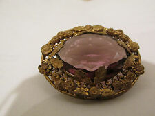 S38 antique victorian costume jewelry amethyst stone pin gold washed metal frame