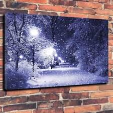 "Inverno Neve Street Scene grande scatola stampata foto su tela A1.30""x20"" 30 mm deep"