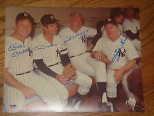 Mickey Mantle Whitey Ford Joe Dimaggio Billy Martin Signed 11x14 Photo PSA/DNA