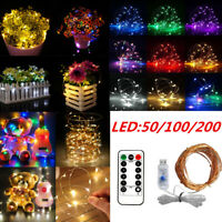 Remote Control LED String Copper Wire Fairy Lights USB 5V Xmas Party Fairy Decor