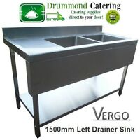 Sink Commercial Catering Kitchen Stainless Steel Sink Double 1500mm With Valance