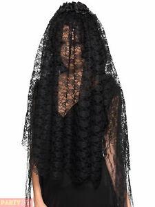 Ladies Black Widow Veil Adults Vampire Bride Halloween Fancy Dress Accessory