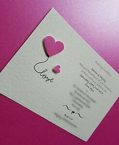 25 Personalised Love Heart Wedding Invitations day / evening free envelopes