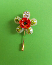 HAND PAINTED Tiny RED POPPY PIN Pearl Diamante Crystal Flower Remembrance Lapel