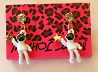 Betsey Johnson Crystal Rhinestone Enamel Astronaut Post Earrings