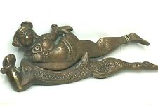 More details for vintage indian brass betel nut cracker recumbent lady some hinge play 11 cm's