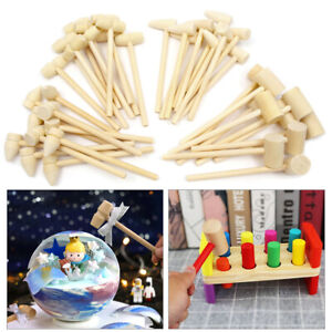 40Pcs 4 Styles Wooden Mini Hammer Flat Head for Kids DIY Toys Small Carving Fun