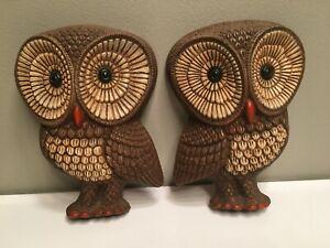 Vintage Pair of 1970s Foam Resin Owl Kitsch Wall Art Hanging Decor Retro Rare