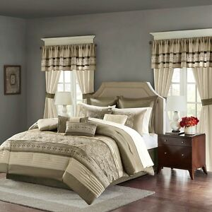 New Elegant Taupe Faux Silk Embroidered Comforter Windows Curtains 24 pcs Set