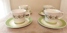 4 Vintage 1970s Hand Decorated Mayan Ironstone Green Cup & Saucer Sets - Japan