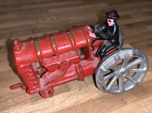 """Vintage die cast metal Ford & Son red color tractor with rider 5"""" x 2 1/2"""" 3 1/2"""
