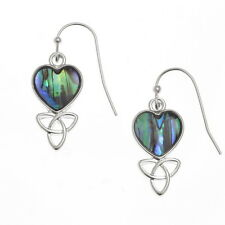 Blue Green Abalone / Paua Shell Celtic Heart Silver Drop Earrings