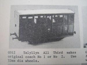 Tenmille GO12 Talyllyn 3rd Coach Kit SM32 Garden Railway Accucraft Roundhouse