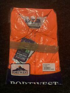 Portwest Hi Vis Viz Safety Rain Jacket, Large, Waterproof With Hood H440