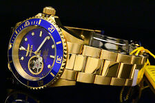 Invicta Pro Diver Open Heart Skeleton Automatic 18K Gold PlatedSS Bracelet Watch