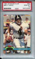 1991 Stadium Club Football #94 Brett Favre Rookie Card RC PSA GEM MINT 10 Farve