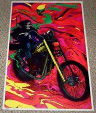 DEATH Grim Reaper biker Chopper Motorcycle Blacklight Poster 1972 Patterson Art