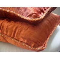"""Designer Velvet Rust Pillow Shams, Velvet 24""""x24"""" Pillow Shams - Rust Shimmer"""